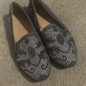 Suede and Rhinestone loafers